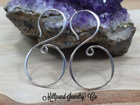 Swirl Earrings, Ear Wires, Sterling Silver Ear Wires, S Shape Swirl Earrings, Jewelry Making Supplies, Jewelry Findings, 1 Pair, PS01685