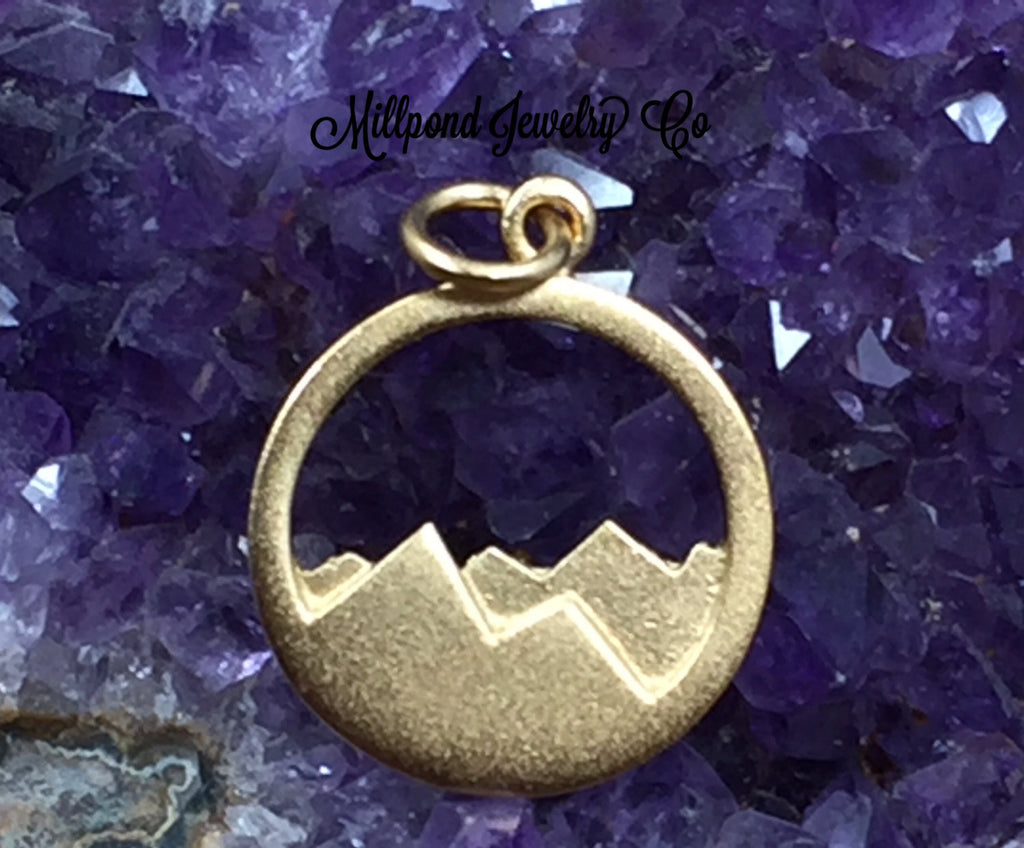 Mountain Range Charm, Mountain Charm, Nature Charm, Outdoors Charm, Gold Plated Sterling Silver Charm