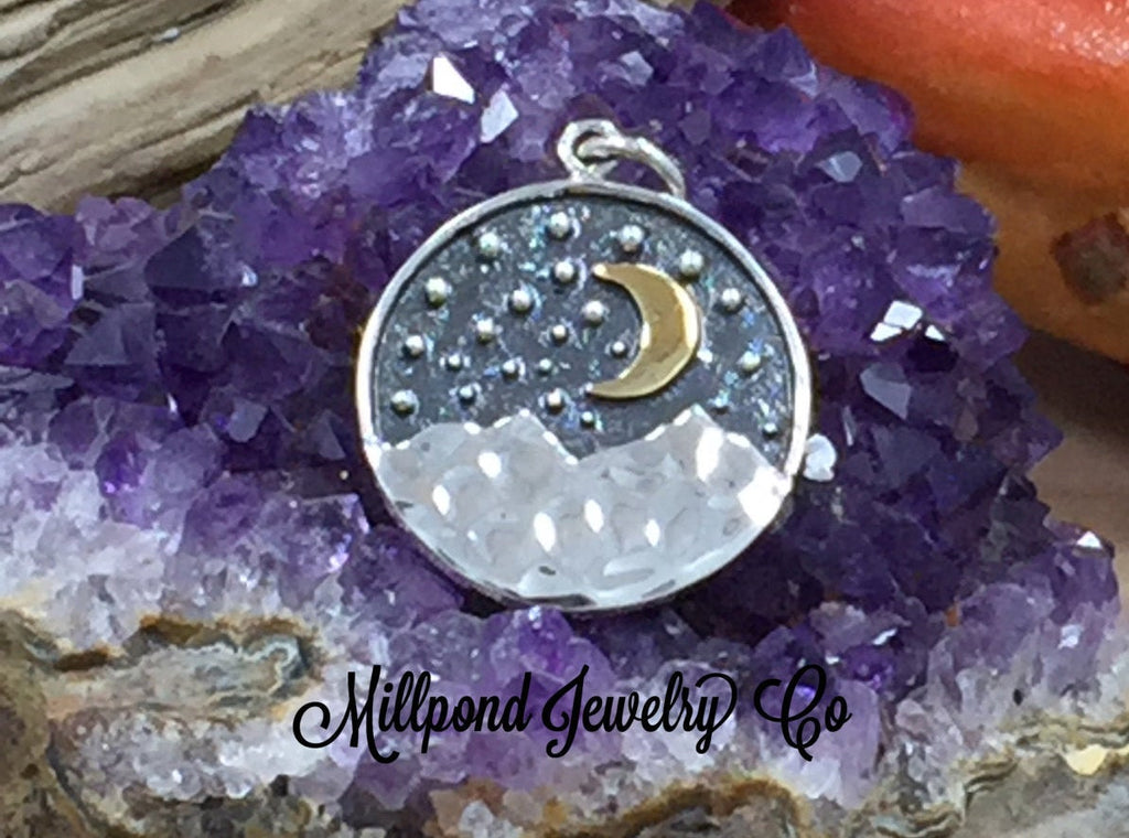 Mountain Charm with Bronze Moon, Mountain Charm, Outdoors Charm, Sterling Silver Charm, Sterling Silver Pendant, PS01667
