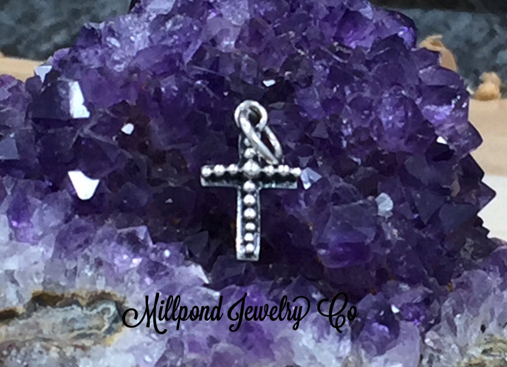 Silver Cross, Cross Charm, Cross Pendant, Cross with Granulation Design, Sterling Silver Cross, Religious Charm, Christian Charm, Small