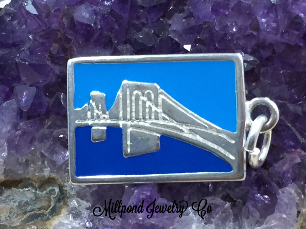 Brooklyn Bridge Charm, Brooklyn Charm, New York Charm, Enamel Charm, Bridge Charm, San Franscisco Charm, New York Landmarks, Sterling Silver