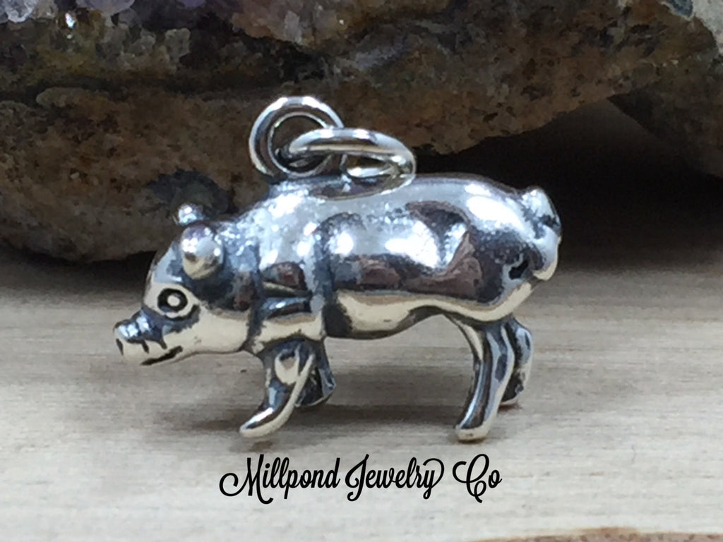 Pig Charm, Pig Pendant, Sterling Silver Pig Charm, Farm Charm, Farm Animals, Sterling Silver