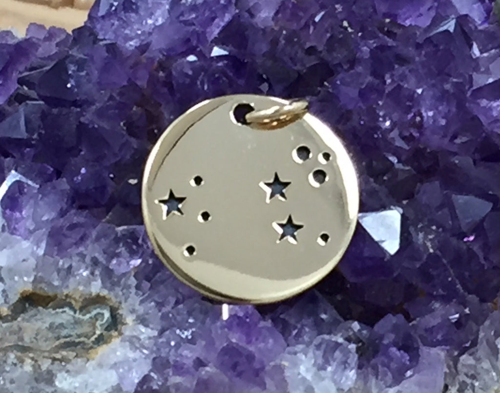 Zodiac Charm, Leo Charm, Zodiac Constellation Charm, Natural Bronze Charm, Necklace Charm, Necklace Pendant