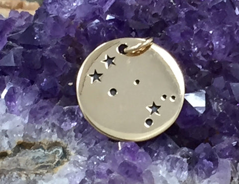 Zodiac Charm, Gemini Charm, Zodiac Constellation Charm, Natural Bronze Charm, Necklace Charm, Necklace Pendant