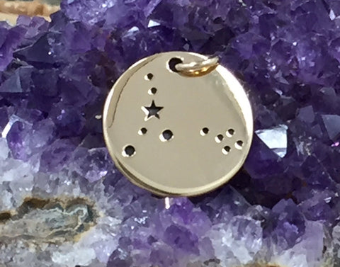 Zodiac Charm, Pisces Charm, Zodiac Constellation Charm, Natural Bronze Charm, Necklace Charm, Necklace Pendant