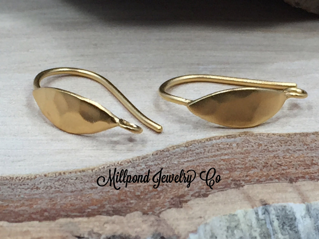 Ear Wires, Gold Ear Wires, Earwires, Gold Hammered Oval Hook Earrings, Earring Components, Jewelry Making Supplies, Jewelry Findings, 1 Pair