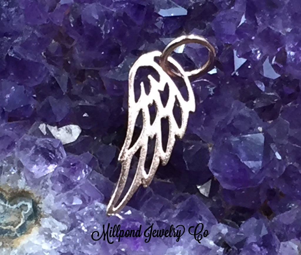Angel Wing Charm, Angel Wing Pendant, Rose Gold Angel Wing Charm, Feather Charm, Feather Pendant, Rose Gold Angel Wing Pendant, PRG0103