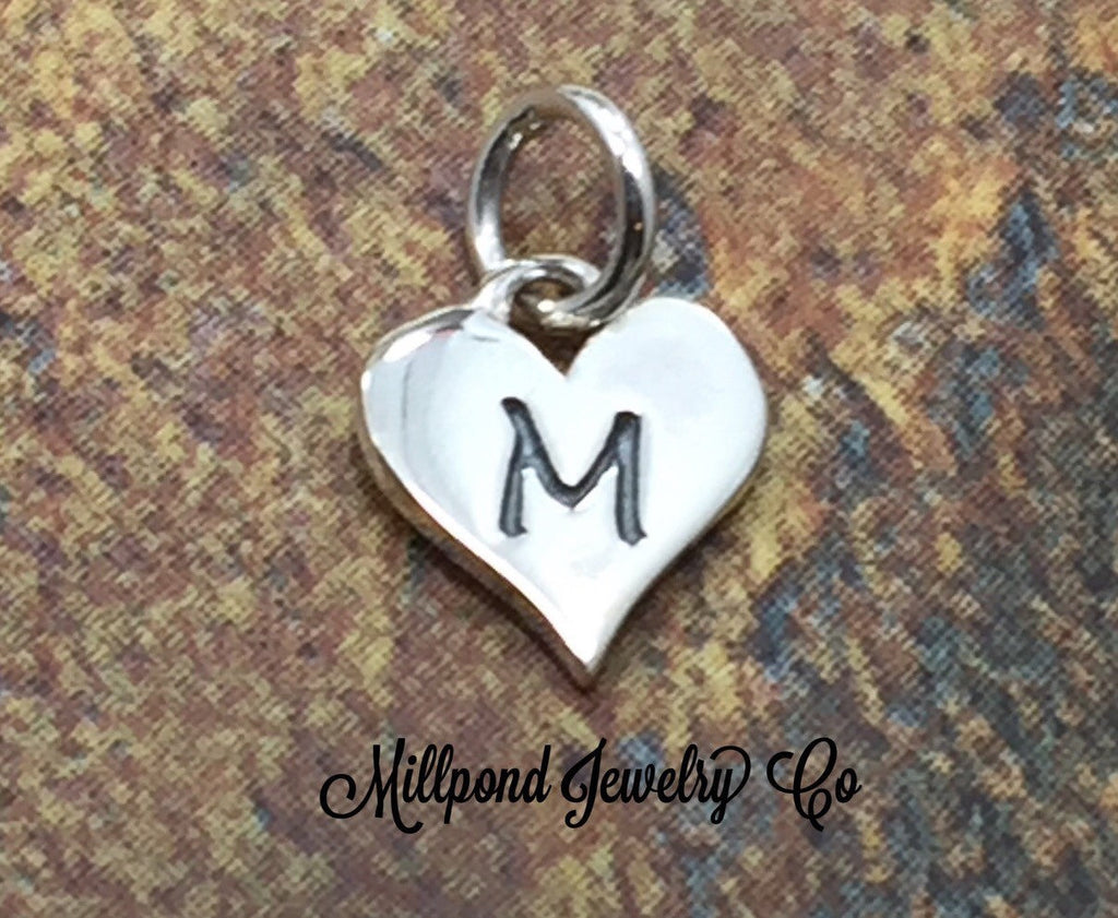 Initial Charm, Letter Charm, M Charm, Letter M Charm, Heart Letter Charm, Alphabet Charm, Sterling Silver Charm
