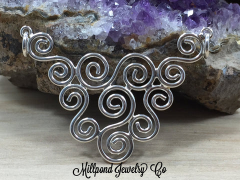 Swirl Charm, Swirl Connector, Sterling Silver Swirl Festoon, Geometric Charm, Necklace Pendant, PS01704