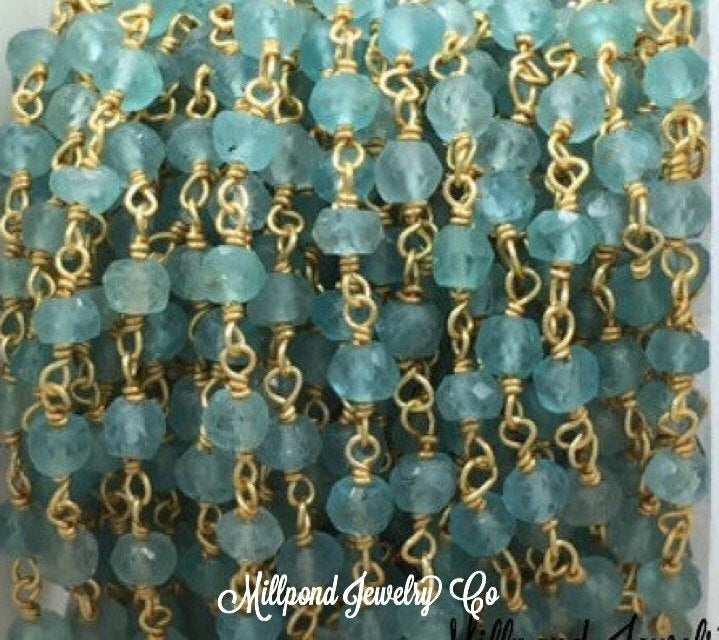 Apatite Wire Wrapped Rosary Chain, Beaded Chain, Rosary Chain, Chain by The Foot, Tiny 2-4 mm Beads, Gold Plated, 1 Foot