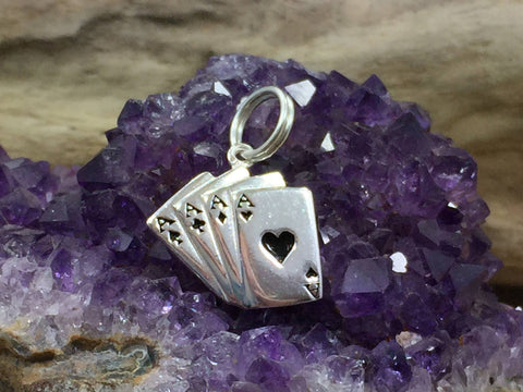 Hand of Cards Charm, Poker Charm, Gambling Charm, Playing Cards Charm, Gamble Charm, Card Game Charm, Sterling Silver, Casino Charm, PS4233