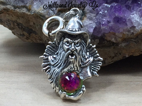Wizard Charm, Wizard with Crystal Pendant, Wizard Fan Gift, Sterling Silver Charm, Sterling Silver Pendant