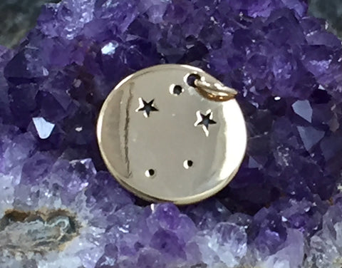 Zodiac Charm, Libra Charm, Zodiac Constellation Charm, Natural Bronze Charm, Necklace Charm, Necklace Pendant