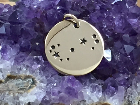 Zodiac Charm, Scorpio Charm, Zodiac Constellation Charm, Natural Bronze Charm, Necklace Charm, Necklace Pendant