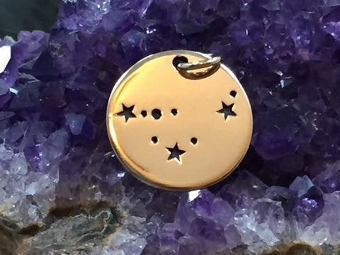 Zodiac Charm, Capricorn Charm, Zodiac Constellation Charm, Natural Bronze Charm, Necklace Charm, Necklace Pendant