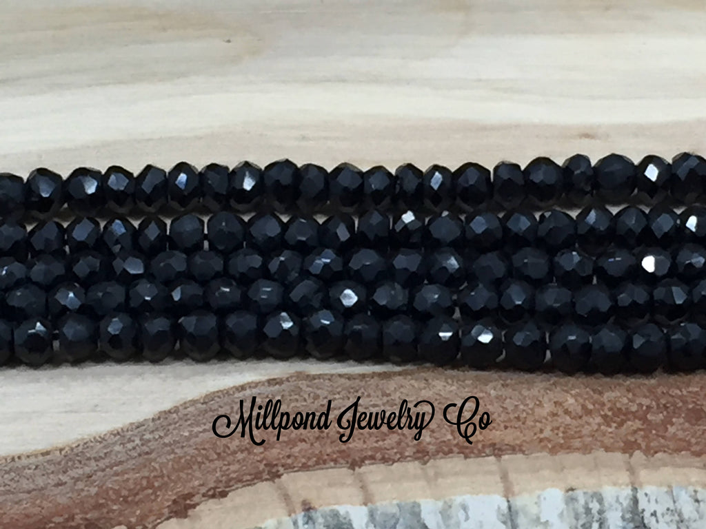 Black Spinel Bead Strand, Black Spinel Faceted Loose Bead Strand, Tiny 3-4 mm Gemstone Beads, Approximately 13 Inch Strand, 1 Strand