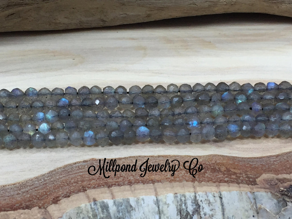 Labradorite Bead Strand, Labradorite Faceted Loose Bead Strand, Tiny 3-4 mm Gemstone Beads, Approximately 13 Inch Strand, 1 Strand