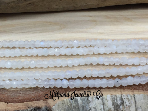 Moonstone Bead Strand, Moonstone Faceted Loose Bead Strand, Tiny 3-4 mm Gemstone Beads, Approximately 13 Inch Strand, 1 Strand