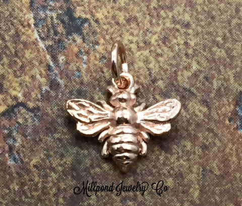 Bee Charm, Bee Pendant, Honeybee Charm, Rose Gold Plated Sterling Silver Charm, Rose Gold Pendant, PRG0101