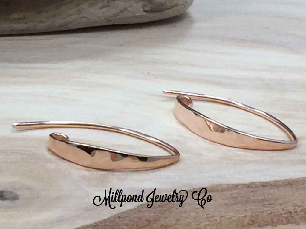 Ear Wires, Rose Gold Ear Wires, Earwires, Rose Gold Hammered Earwires, Earring Findings, Jewelry Supplies, Jewelry Findings, 1 Pair, PRG0109