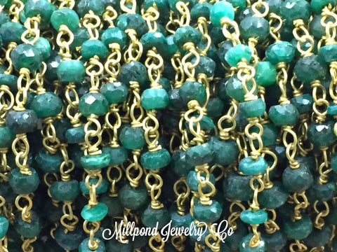 Emerald Wire Wrapped Rosary Chain, Beaded Chain, Rosary Chain, Corundum Emerald, Chain by The Foot, Tiny 2 to 4mm Beads,Gold Plated, 1 Foot