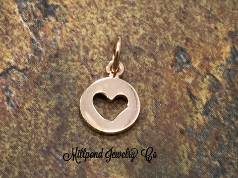 Heart Charm, Heart Pendant, Cut Out Heart Charm, Res Gold Plated Sterling Silver Heart Charm, Heart Cut Out Charm, Circle Heart Charm