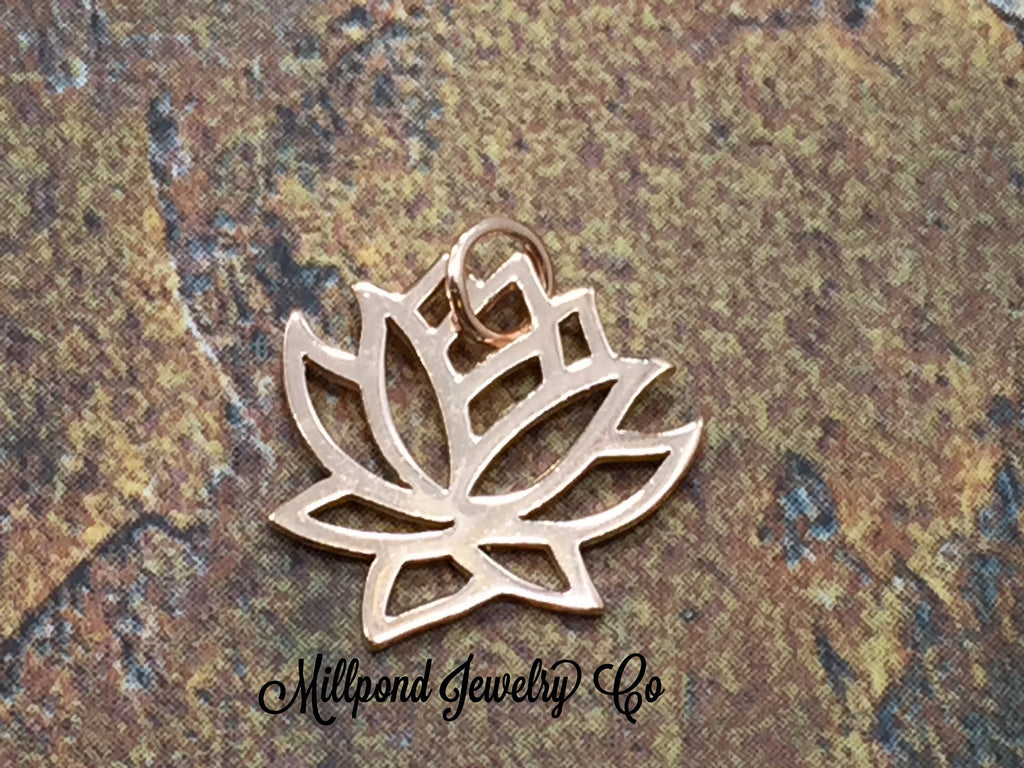 Lotus Charm, Lotus Pendant, Small Lotus Charm, Rose Gold Plated Sterling Silver Charms, Rose Gold Charms