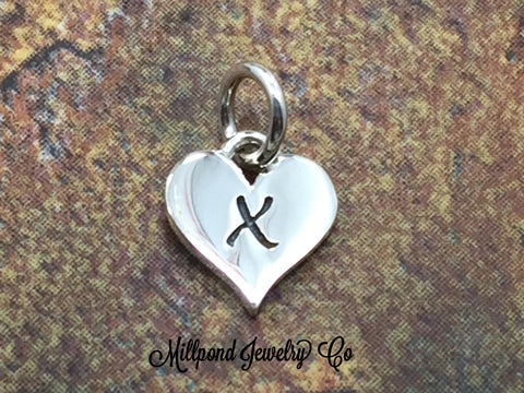 Initial Charm, Letter Charm, X Charm, Letter X Charm, Heart Letter Charm, Alphabet Charm, Sterling Silver Charm
