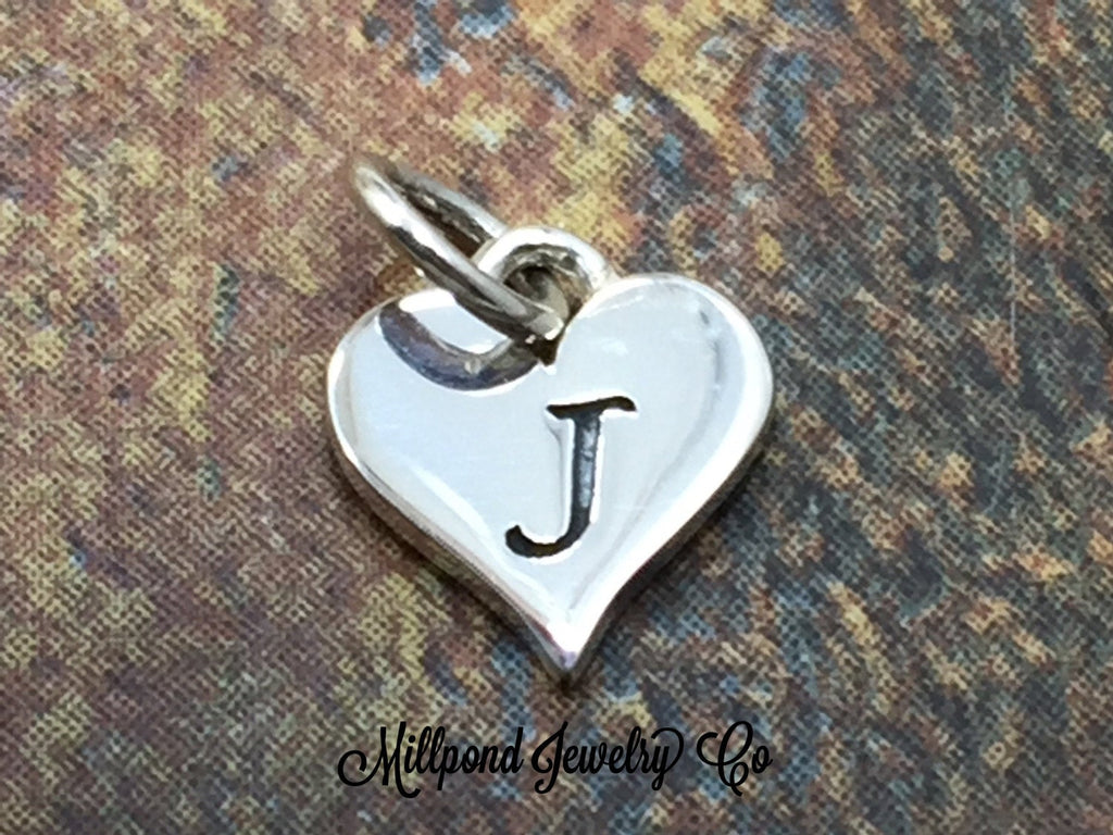 Initial Charm, Letter Charm, J Charm, Letter J Charm, Heart Letter Charm, Alphabet Charm, Sterling Silver Charm