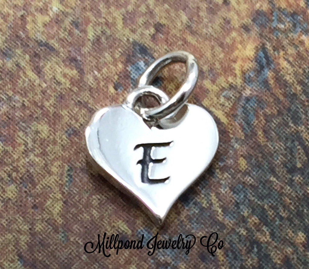 Initial Charm, Letter Charm, E Charm, Letter E Charm, Heart Letter Charm, Alphabet Charm, Sterling Silver Charm