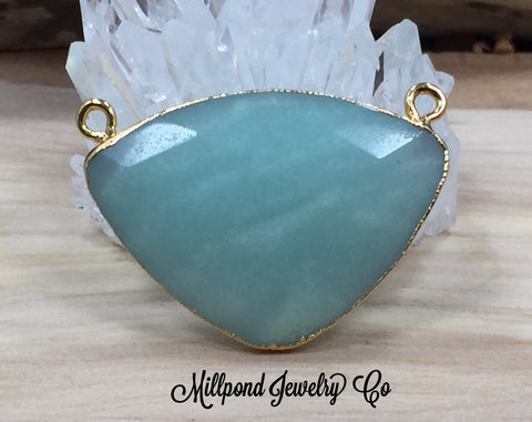 Amazonite Triangle Connector, Amazonite Pendant, Amazonite Faceted Connector, Natural Stone Pendants, Gold Plated, Green Triangle Connector