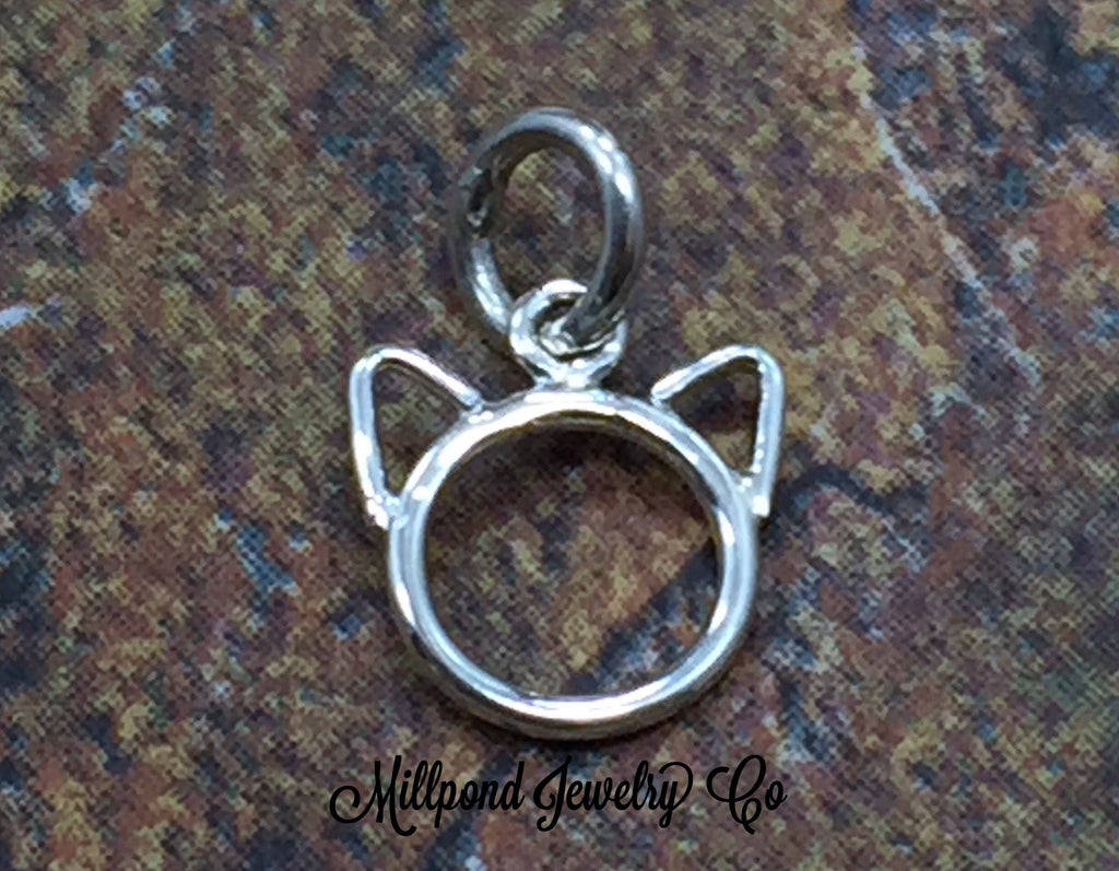 Cat Charm, Kitty Charm, Cat Outline Charm, Sterling Silver Cat Charm, Animal Lover Charm, Animal Charm
