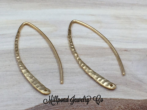 Ear Wires, Gold Ear Wires, Earwires, Gold Hammered Marquis Hook Earrings, Earring Components, Jewelry Findings, 1 Pair