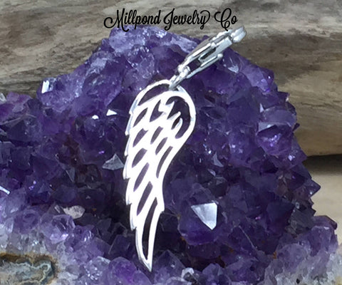 Angel Wing Charm, Angel Wing Pendant, Sterling Silver Angel Wing Charm, Feather Charm, Feather Pendant, Sterling Silver Angel Wing, PS0154LC