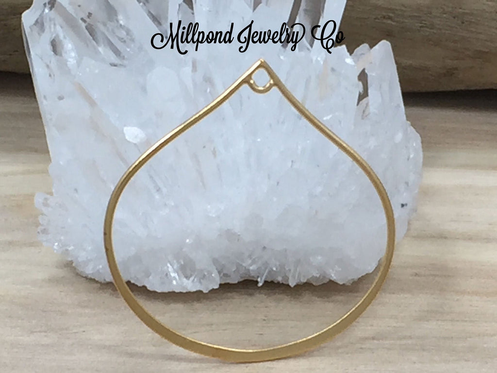 Teardrop Link, Teardrop Pendant, Large Teardrop Link, Circle Charm, Circle Link Charm, Gold Plated Sterling Silver Link Charm