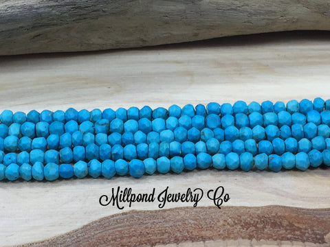 Turquoise Bead Strand, Turquoise Howlite Faceted Loose Bead Strand, Tiny 3-4 mm Gemstone Beads, Approximately 13 Inch Strand, 1 Strand