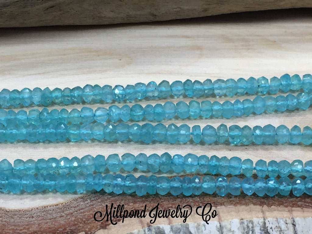 Apatite Bead Strand, Apatite Faceted Loose Bead Strand, Tiny 3-4 mm Gemstone Beads, Approximately 13 Inch Strand, 1 Strand