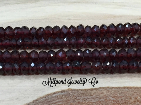 Garnet Bead Strand, Garnet Faceted Loose Bead Strand, Tiny 3-4 mm Gemstone Beads, Loose Beads, Approximately 13 Inch Strand, 1 Strand