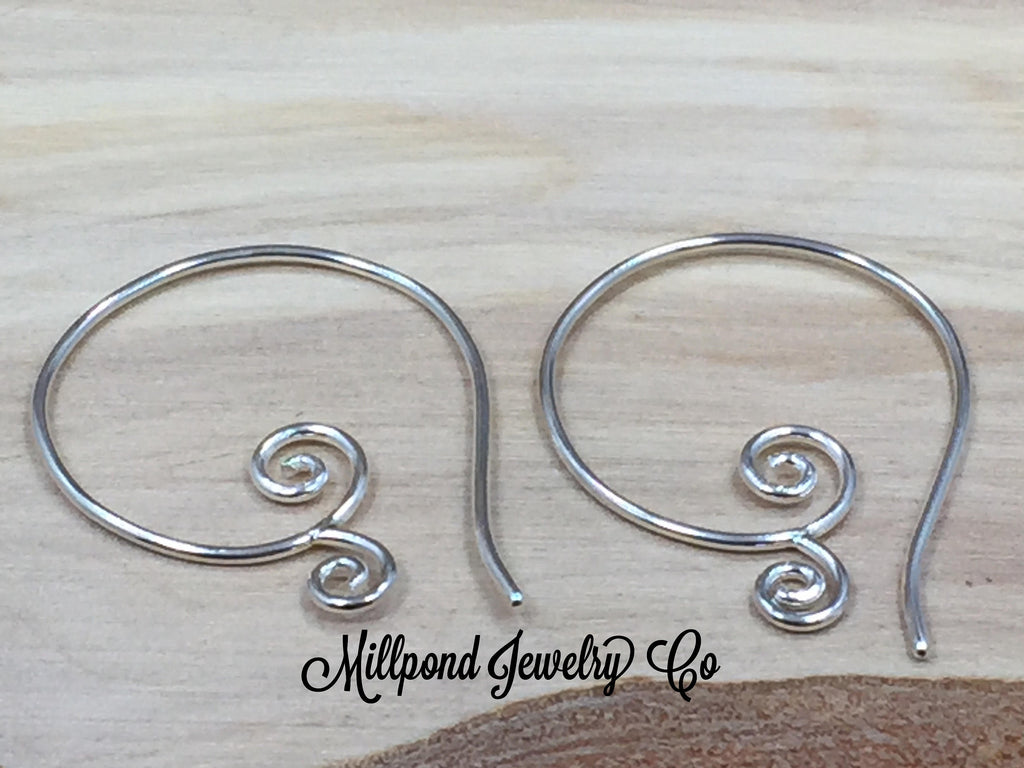 Ear Wires, Sterling Silver Ear Wires, Ear Wires, Earring Components, Jewelry Making Supplies, Swirl Ear Wires, Jewelry Findings, 1 Pair
