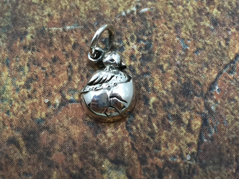 Bird Charm, Hatching Bird Charm, Baby Bird Charm, Bird in Egg Charm, Easter Charm, Sterling Silver