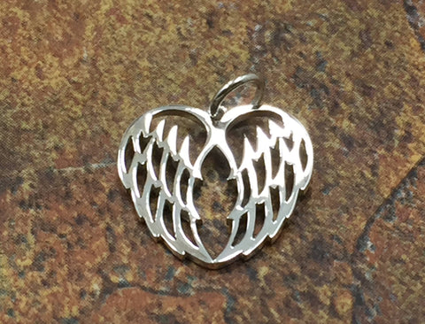 Angel Wings Charm, Angel Wings Pendant, Sterling Silver Angel Wings, Bird Wings Charm, Openwork Angel Wings Charm