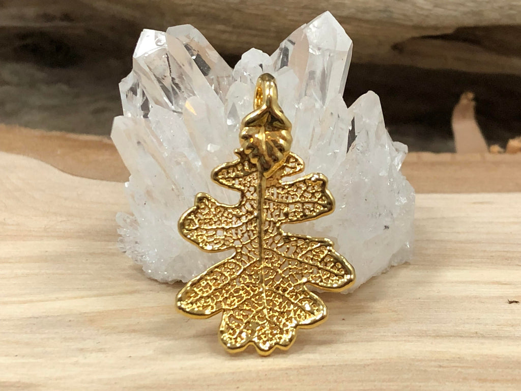 Oak Leaf Pendant, Gold Oak Leaf Pendant, Gold Oak Leaf, Leaf Pendant, Nature Pendant, Small, Earring Size, 1 Piece