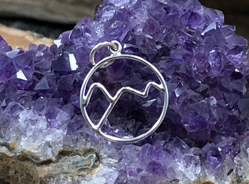 Mountain Range Charm, Wire Mountain Charm, Nature Charm, Outdoors Charm, Sterling Silver Charm, Sterling Silver Pendant