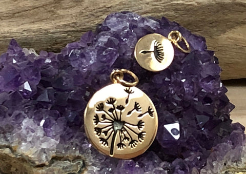 Dandelion Charm Set, Dandelion Mother and Child Charms, Mother Child Dandelion Charm Set, Bronze Charm