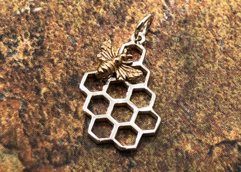 Honeycomb with Bronze Bee Charm, Honeycomb Pendant, Bee Charm, Bee Pendant, Honeybee Charm, Bee Keeper Charm, Sterling Silver
