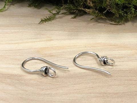 Ear Wires, Sterling Silver Ear Wires, Earwires, Earring Components, Earrings Parts, Jewelry Findings, 1 Pair