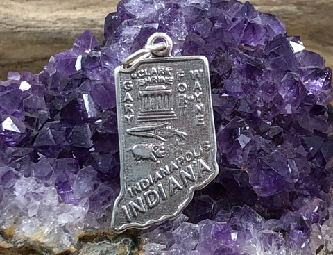 Indiana Charm, Indiana Pendant, Indiana State Charm, Sterling Silver Indiana Charm, Gary Charm, Wayne Charm