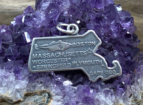 Massachusetts Charm, Massachusetts Pendant, Massachusetts State Charm, Sterling Silver Massachusetts Charm, Worcester Charm, Boston Charm
