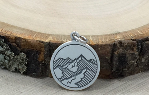 Mountain Range Charm, Mountains Line Drawing Pendant, Mountain Charm, Nature Charm, Outdoors Charm, Sterling Silver Charm, PS01459