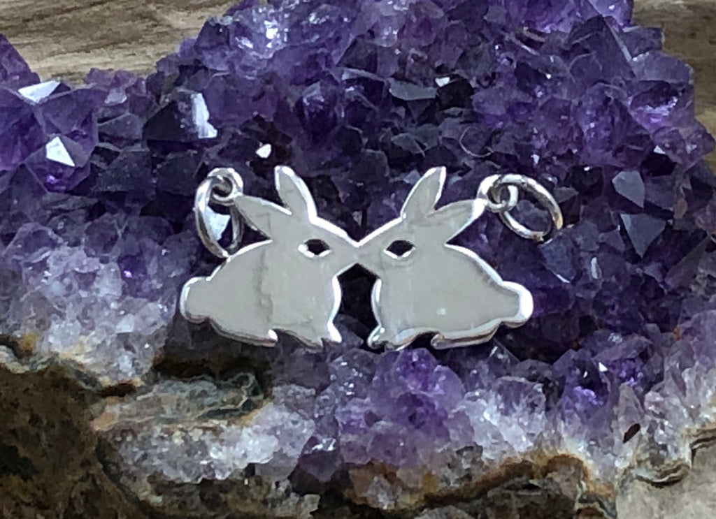 Sterling Silver Charms, Bunny Charm, Bunnies Charm, Rabbit Charm, Easter Charm, Animal Charm, Animal Lover, Sterling Silver Charm